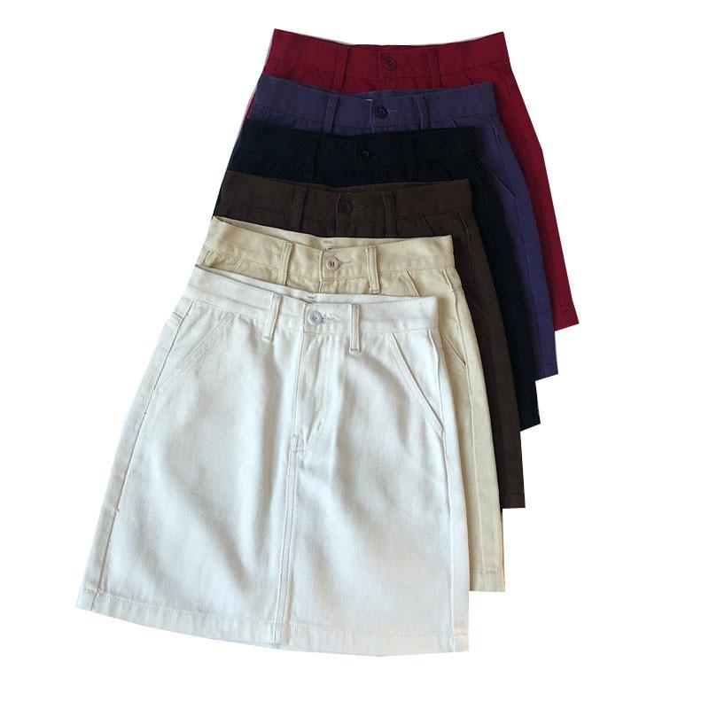 Summer Women Pencil Jeans Skirt Hihg Waist A-line Denim Ladies Skirts Small Pockets Fashion Harajuku Female Short Skirts
