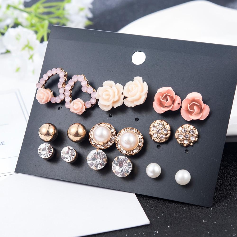 2019 New Fashion Women 9pair/set Flower Pearl Alloy Ear Earring Cute Crystal Wedding Jewelry Gifts For Girl korean fashion 1