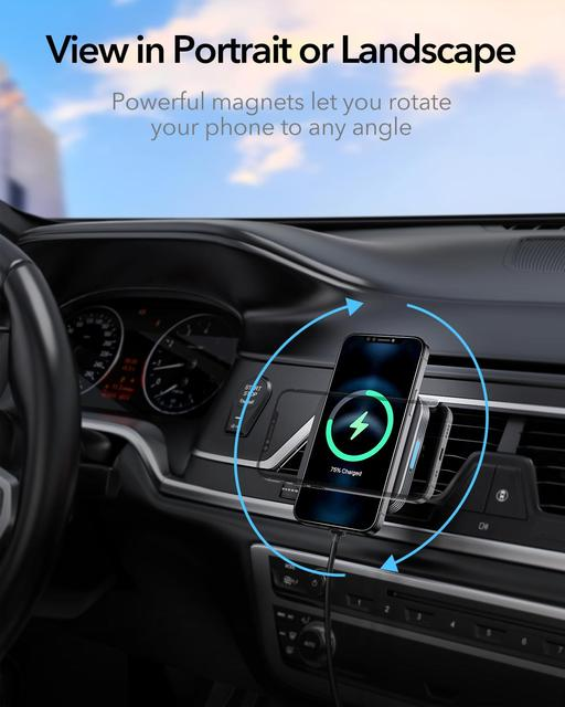 ESR HaloLock Magnetic Wireless Car Charger Mount for iPhone 12 Pro Max Fast Charging Wireless Charger Car Phone Holder