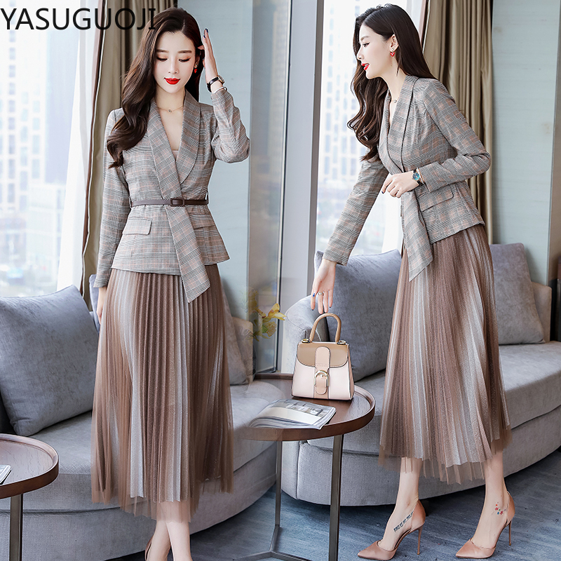 YASUGUOJI Office Lady Casual Plaid Blazer + Mesh Pleated Skirt Suit Set Women Formal Blazer Skirt Set Jacket Skirt Suits Women