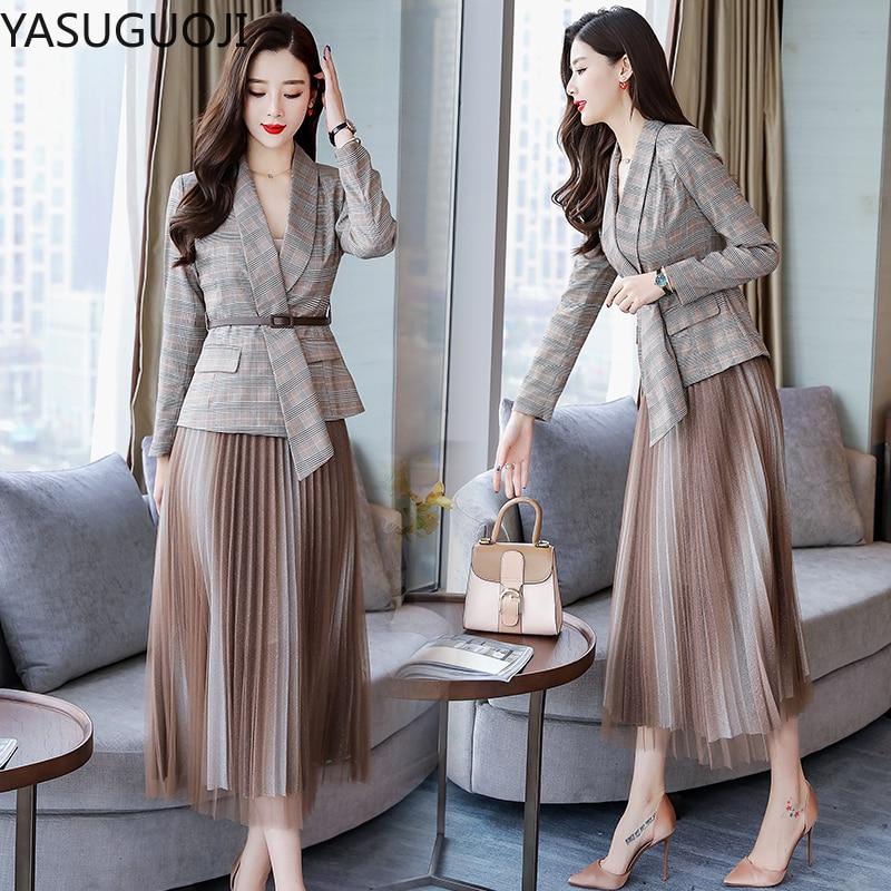 YASUGUOJI Office Lady Casual Plaid Blazer + Mesh Pleated Skirt Suit Set Women Formal Blazer Skirt Set Jacket Skirt Suits Women