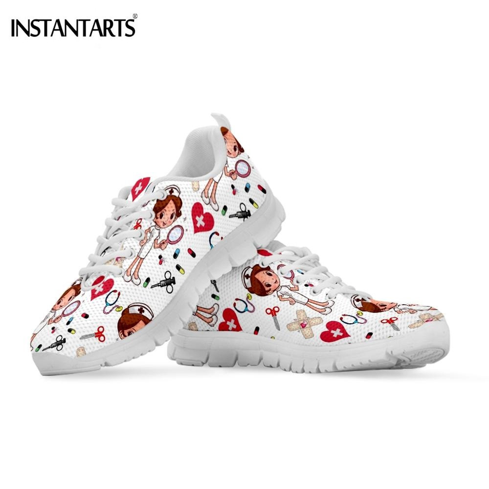 INSTANTARTS Cartoon Nurse Design Casual Flats Shoes For Women Lace Up Breathable Fitness Bodybuilding Sneakers Brand Designer
