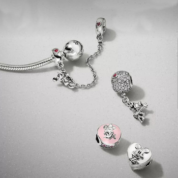 NEW 100% 925 Sterling Silver Lovely Charm 4 Charm Bead Bracelet Set Planet of Love Charm Astronaut Night Blue Love Heart Charm фото