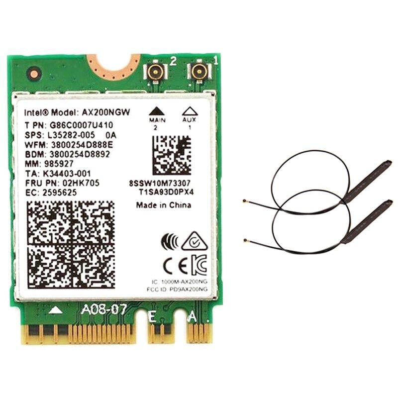 Doble banda 2,4 Gbps Int-el Wi-Fi 6 AX200NGW 802 11Ax Ac/Ac MU-MIMO 2X2 Wifi AX200 NGFF M.2 Bluetooth 5,0 red tarjeta Wlan + antena Antena 5G WiFi de doble banda 6DBi omnidireccional, Conector de clavija, Base magnética 667C