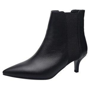 Image 2 - FEDONAS מותג אלגנטי גבירותיי עקבים דקים מסיבת נשף נעלי אישה חורף חם בתוספת גודל צ לסי מגפי אופנה נשים קרסול מגפיים