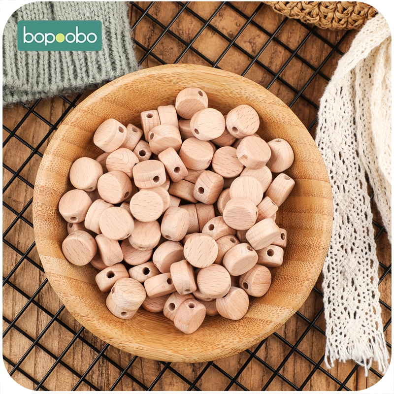 Bopoobo 50pc Wooden Beads Baby Wooden Teether Rodent Disc Beads DIY Nursing Necklace Pacifier Chain For Children Baby Product