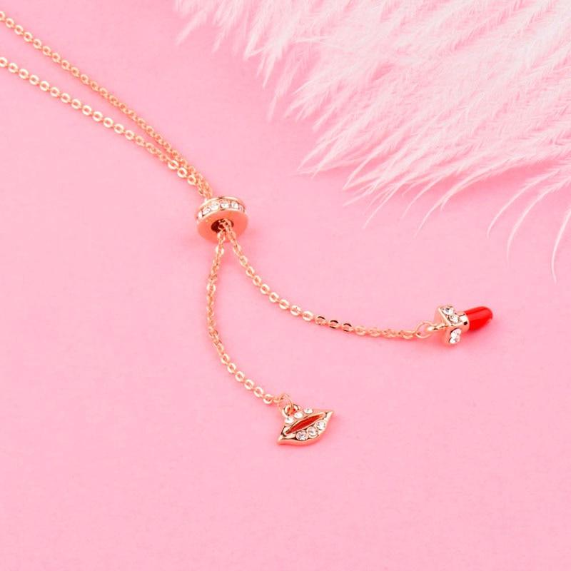 SINLEERY Lippe und roter Lippenstift verstellbare Anhänger Halskette - Modeschmuck - Foto 3