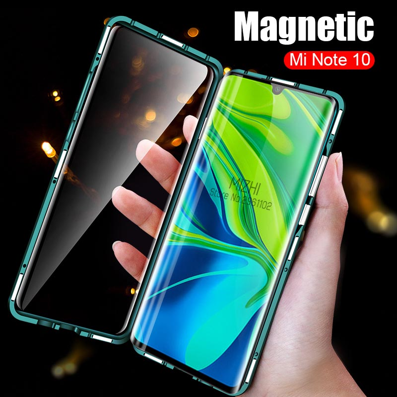 360 Front + Back Clear Glass Magnetic <font><b>Metal</b></font> <font><b>Case</b></font> For Xiaomi <font><b>Redmi</b></font> Note 8 8 Pro 7 8T K30 8A Mi 10 Pro 9T <font><b>K20</b></font> CC9E A3 Note10 Pro image