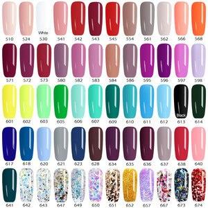 Image 5 - 60pcs/Lot CANNI Paint Gel Fast Dry Pure Glitter Colors Gel Lacquer Varnish 5ml Plastic Jar UV LED Nail Art Painting Gel