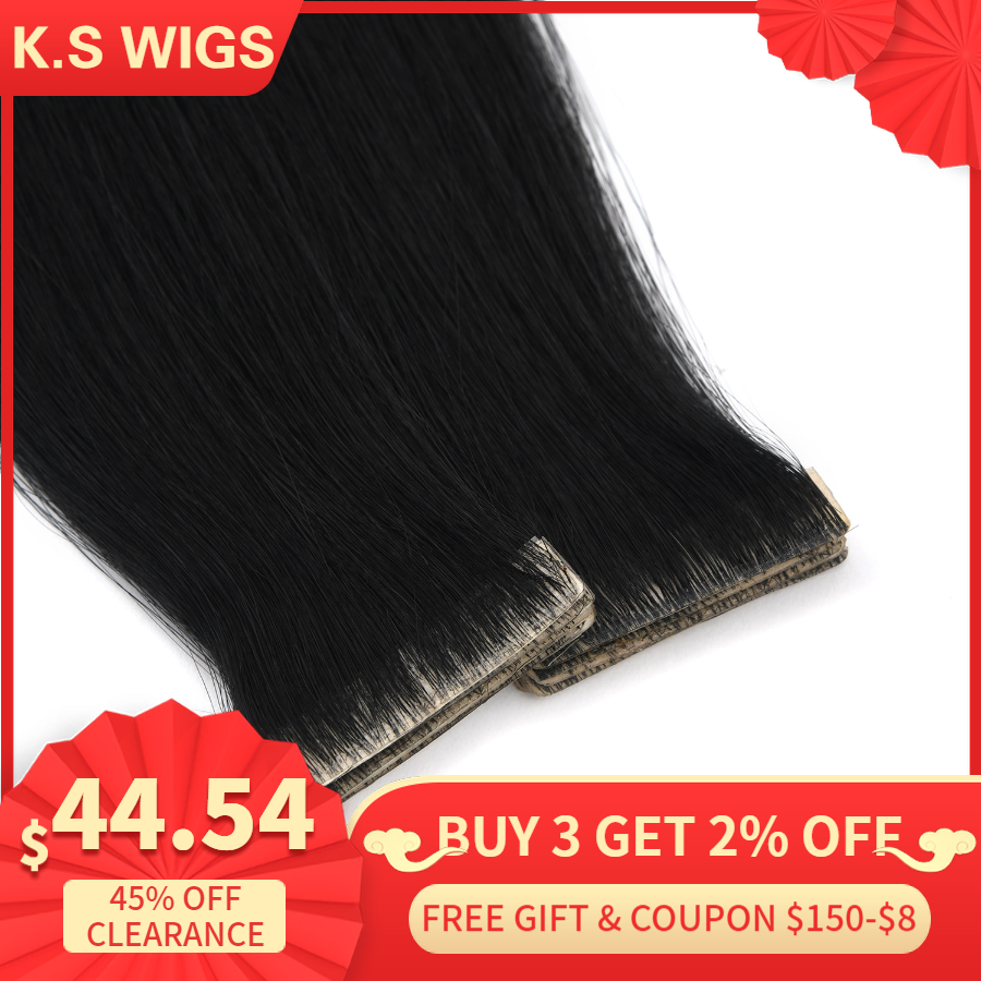 K.S WIGS 16'' 20'' 24'' Remy Hand Tied Tape PU Skin Weft Hair Straight Double Drawn Invisible Seamless Adhesive Hair Extensions