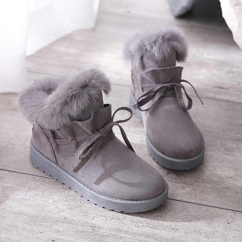 Fujin kış yeni kar botları kadın kısa tüp öğrenci kadın ayakkabı kış pedalı pamuklu ayakkabılar ve kadife ayakkabı yastıklı kısa çizmeler