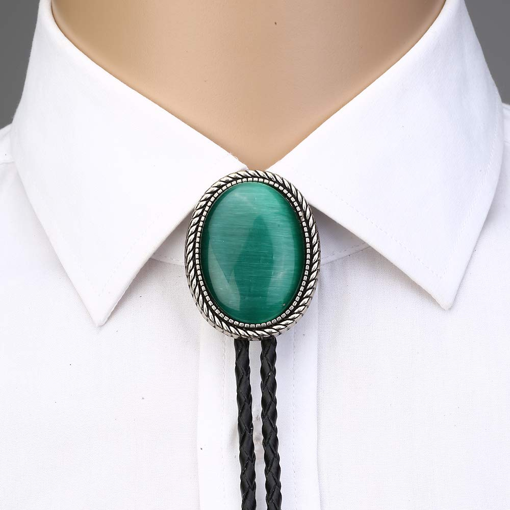 Naturel Stone Green Cat Eye Bolo Tie For Man Indian Cowboy Western Cowgirl Leather Rope Zinc Alloy Necktie