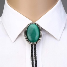 Bolo-Tie Rope Necktie Naturel-Stone Cowboy Green Western for Man Indian Cowgirl Zinc-Alloy