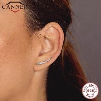 CANNER, Plata de Ley 925 auténtica, cristal de circonita CZ, pendientes de tuerca para mujer, pendientes para Piercing, joyería fina, pendientes