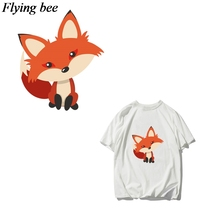 Flyingbee DIY Heat Transfer Patches Clothes Stickers T-shirt Dresses Decoration Fashion fox Patches Heat Press Appliques X0666 pikachu patch iron on transfer pokemon patches for clothes diy shirt applique heat transfer vinyl stickers appliques on clothes