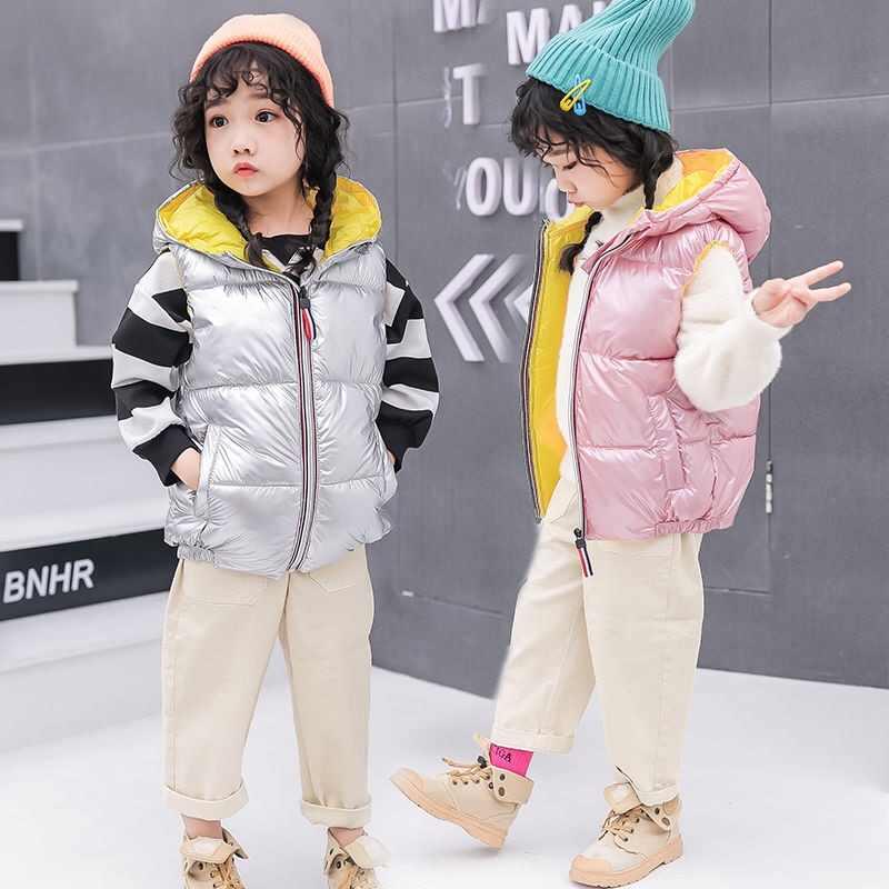 Chaleco con capucha de moda 2019 para niños, abrigos de invierno, ropa para niños, chaleco de algodón cálido para bebés y niñas 3-10 años