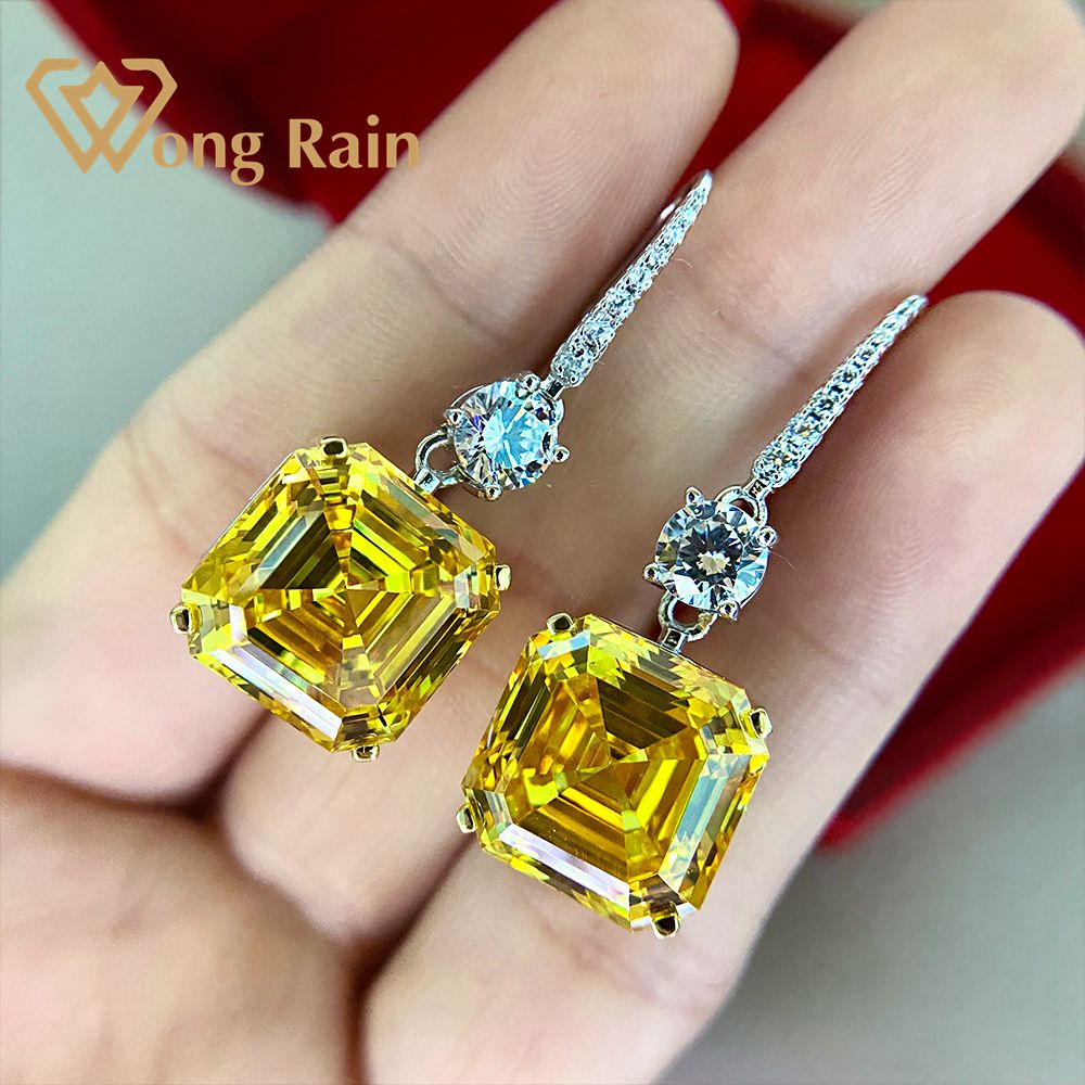 Wong Rain 925 Sterling Silver Asscher Cut Created Moissanite Citrine Gemstone Drop Dangle Women Earrings Fine Jewelry Wholesale