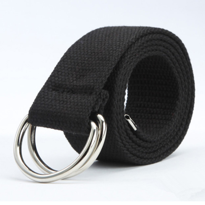 New Casual Unisex Canvas Fabric Belt Strap D Ring Buckle Webbing Waist Band Casual Jeans Belt 5 Colors Cinturones Hombre