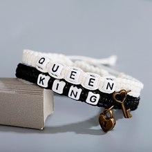 Pulseira de tecido feito à mão dos homens das mulheres jóias rei rainha grânulos casal pulseiras amantes presente preto e branco distância pulseira
