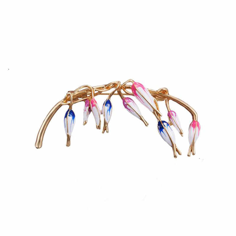 High Quality Orchid Painting Oil Flower Atmospheric Brooch Art Tools Creative Wild Plant Safty Pins