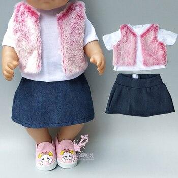 Ropa de muñeca para 40cm, 43cm, muñeca bebé recién nacida, falda, chaleco de piel, camisa, ropa de invierno para niña de 18 pulgadas
