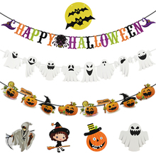 Happy Halloween Banner Cartoon Ghost Pumpkin Paper Garland Bunting Flag for Party Home Hanging Pendant Decoration