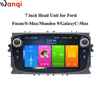 Wanqi 7inch Android10.0 Knob Car Radio GPS Multimedia For Ford Focus S-max Mondeo 9 Galaxy C max Stereo Multiple Player no dvd image
