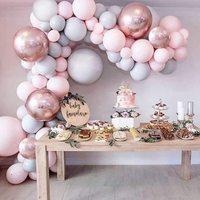 バルーンセット,マカロン,グレー,ピンク,4d,ピンク,ゴールド,アルミニウム,結婚式,誕生日,出生前のパーティーの装飾