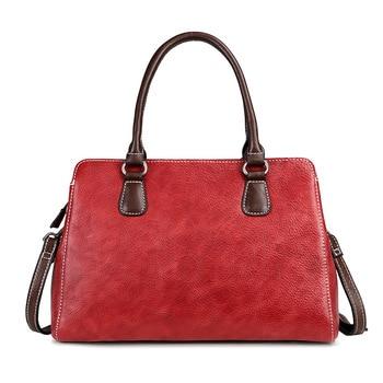 Genuine Leather Messenger Handbag Brush Color Bags Multi-Layer Natural Skin Female Retro Design Women Shoulder Top Handle Bag
