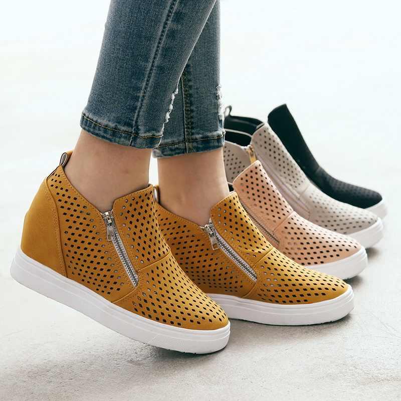 Vulcanize Cuneo della Scarpa Da Tennis delle donne Scarpe di Moda Zip Leopard Aumentare Entro Zapatos De Mujer Nuovo Modo per la Ragazza