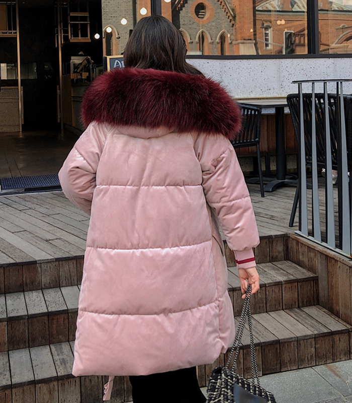2019 High Quality Winter Jacket Women Velvet Fabric Hooded Thicken Fur_B6_17