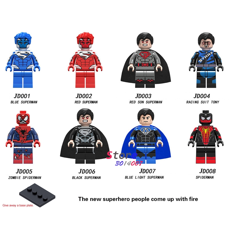 Single Building Blocks Blue Light Red Son Black Superman Zombie Spiderman Racing Suit Tony Tony Stark Toys For Children