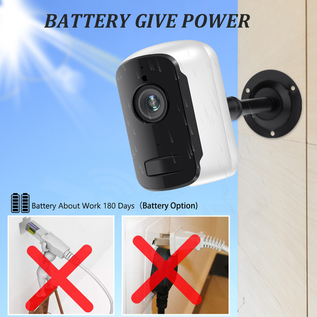 Outdoor IP Camera 1080p HD Battery WiFi Wireless Surveillance Camera 2.0MP Home Security Waterproof PIR Alarm Audio Low Power 5