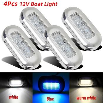 4x 3 LED 12V Boat Stair Deck Side Marker Light Courtesy Lights Indicator Turn Signal Lighting Marine Boat Accessory Taillight 4 x marine boat grade 12 volt large waterproof led courtesy lights blue white