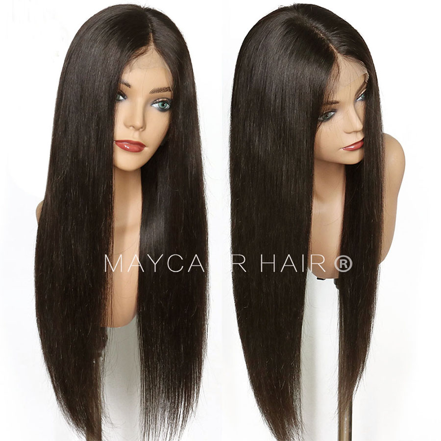 Maycaur Brown Long Straight Synthetic Lace Front Wigs For Black Women Gluless Wig with Natural Hairline (2)