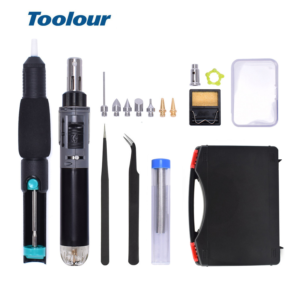 Toolour Mini Gas Soldering Iron Kit Cordless Self-Ignition Welding Gun Torch Repair Soldering Station Tip Pyrography Wood Tool