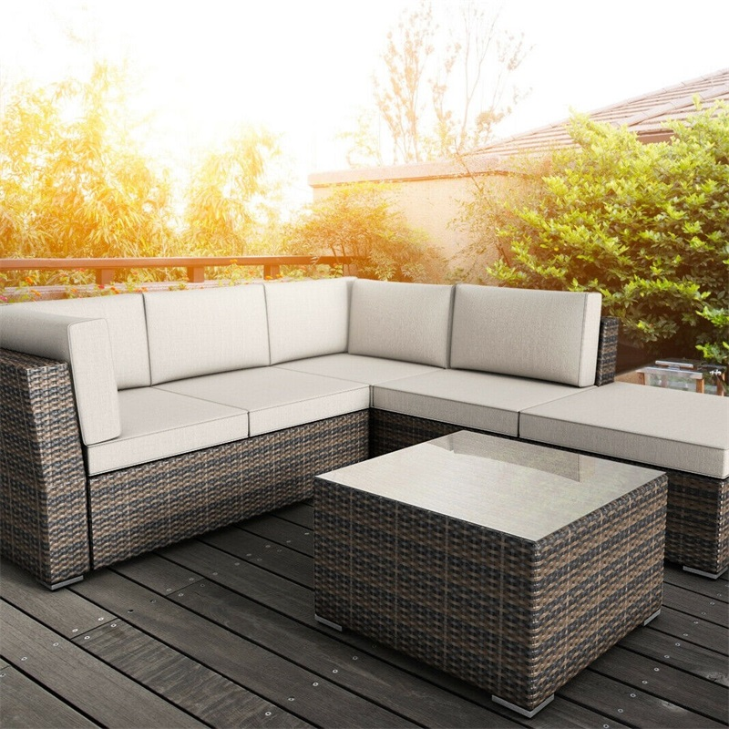 4 Pcs Wicker Cushioned 5 Seat Sofa Furniture Set Outdoor Furniture Sofa Ottoman Table Cushion For Seat Back Cushion HW55978+