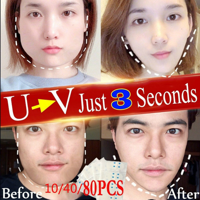 80/40/8pcs Lift Face Sticker Instant Waterproof V Shape Breathable Makeup Adhesive Tape Invisible Lifting Tighten Chin 2021 Slim 2