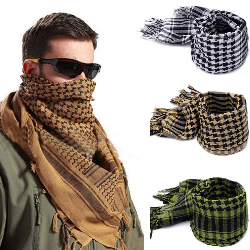 2020 Newest Outdoor Casual Men Scarves Cotton Shemagh Military Headscarf Arab Keffiyeh Male Army Fabric Veil Wrap 3 Colors Scarf