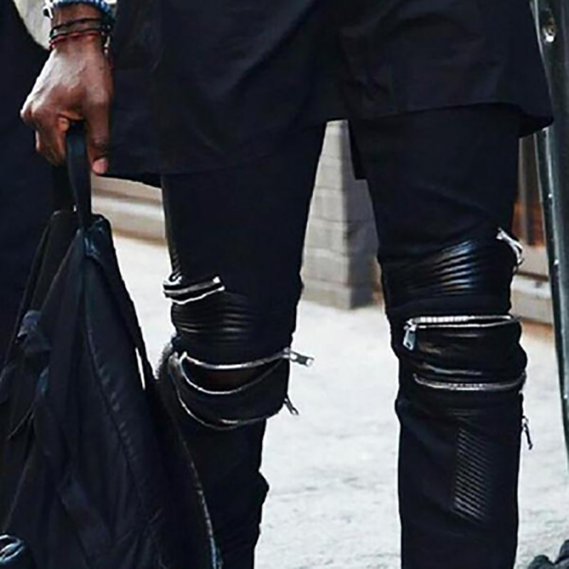 Stage Street Dance Spell Leather PU Zipper Decorative Jeans Tide Male Large Size Pants Feet Pants Nightclub Hip Hop Slim Pants