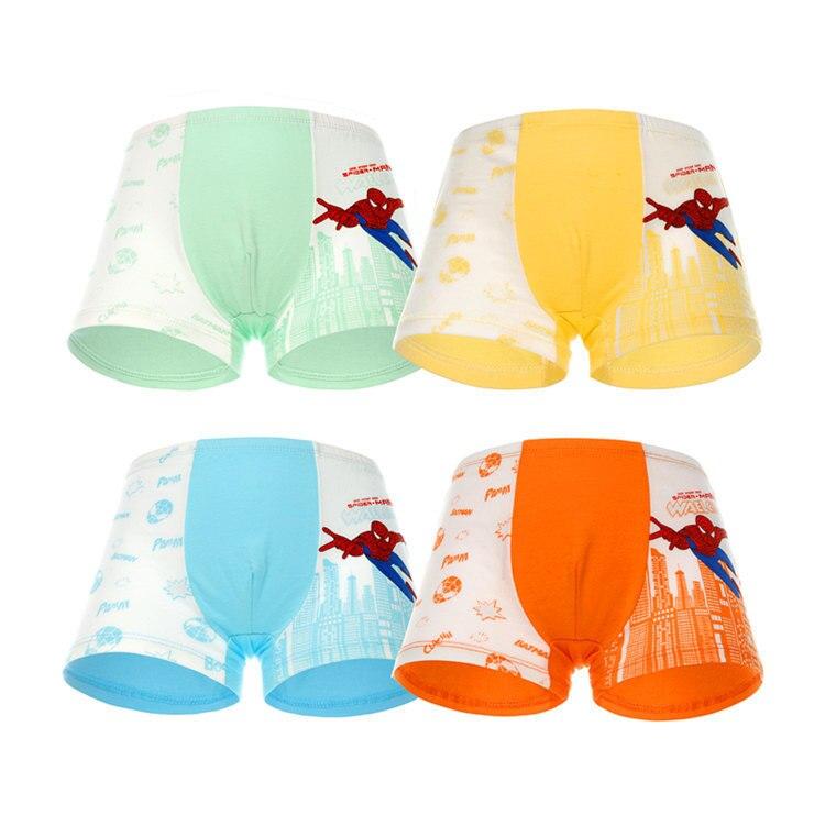 4 Pcs/lot Boys Boxer Childrens Cotton Underwear Spiderman Cartoon Boy Boxers 2-12T