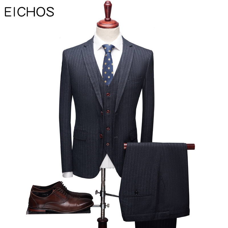 New Arrival Boutique Suits Men Casual Stripe Tuxedo Suit Wedding Groom Suit Man Coat Trousers Waistcoat Plus Size 5XL