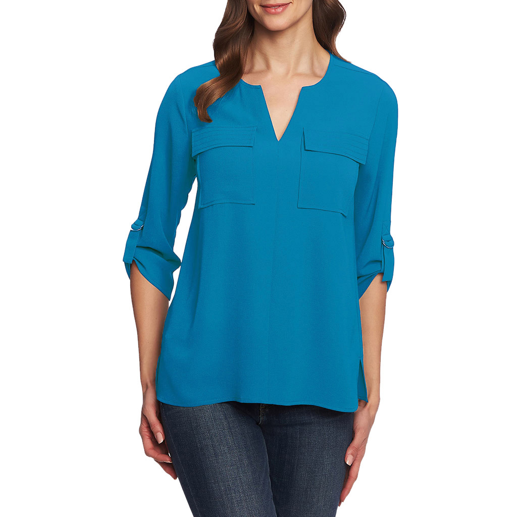 Blouse Women блузка женская Tops And Blouses Pockets V-neck Cropped Sleeves Can Be Sleeved Irregular Loose Chiffon Blouse #3