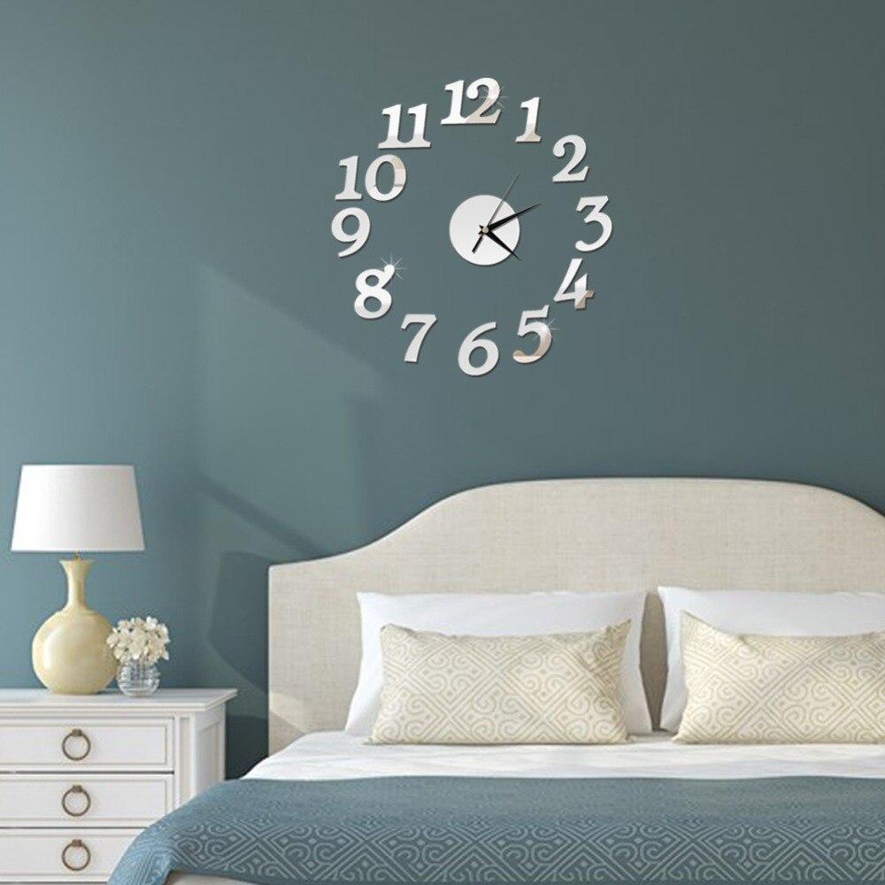 3D Wall Clock Mirror Wall Stickers Fashion Living Room Quartz Watch DIY Home Decoration Clocks Sticker reloj de pared 1