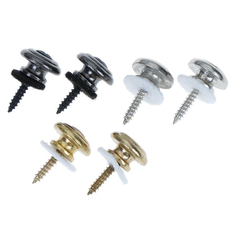 2Pcs Copper Guitar Strap Locks Mushrooms Heads Guitar Bass Strap Locks Pins Belt Buckle Buttons Silver/Black Guitar Strap Lock