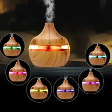 Wood Grain USB Air Freshener 300ml Aroma Humidifier Aromatherapy 7 Color LED Lights Electric Essential Oil Diffuser