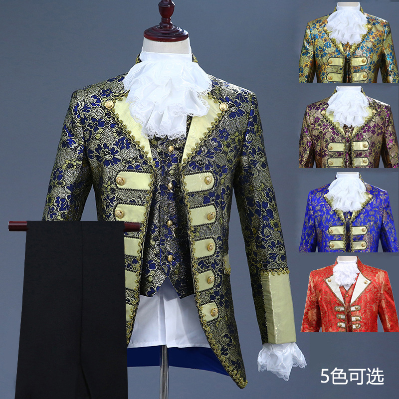 Men Europe Palace Formal Dress Costume Prince Charming Stage Retro European Style Drama Performance Costume Adult