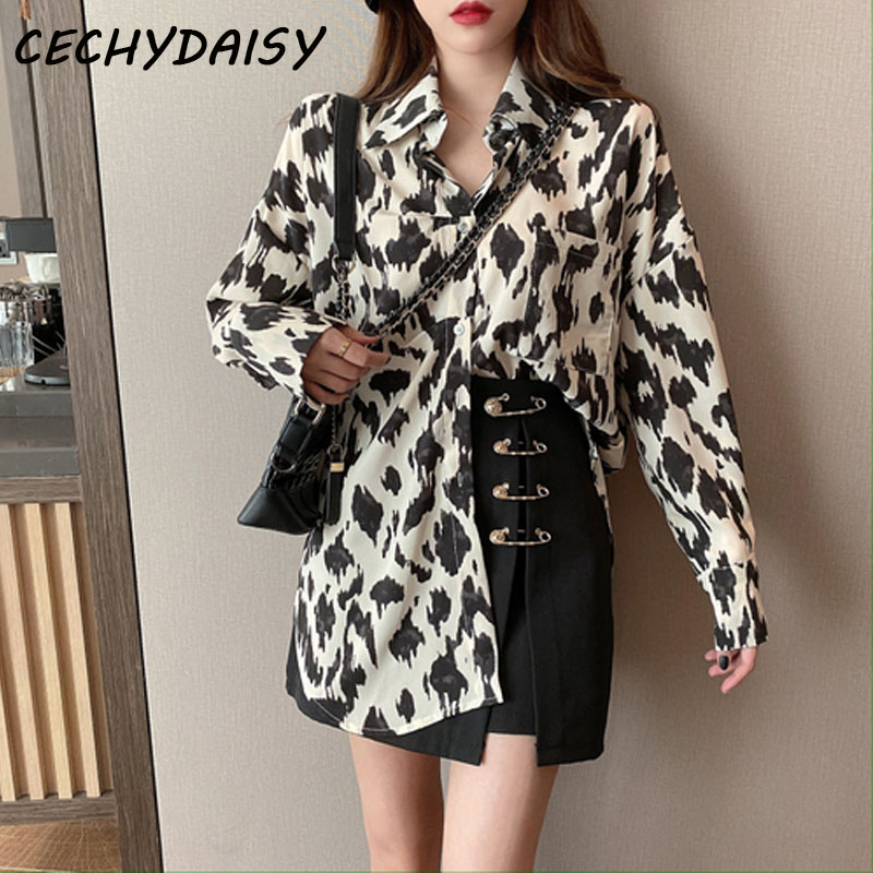 Blouse Women Long Sleeve Single-breasted Spring Loose Elegante Leopard Print Shirt Tunic Casual Loose Tops blusa feminina mujer