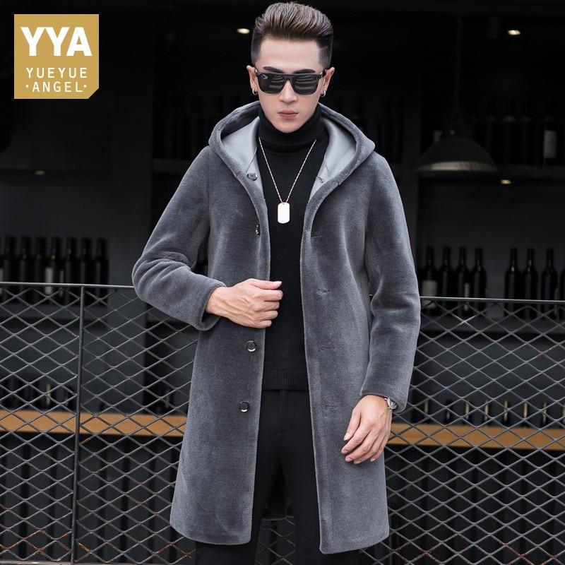 Luxury Shearling Men Overcoat Business Casual Slim Real Fur Sheep Shearing Hooded Long Coat Brand Winter Blazer Coat Plus Size
