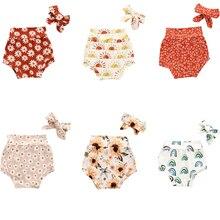 Newborn Bloomers Shorts Girls Kids Pudcoco Floral-Heart Boys Summer Headband Fashion